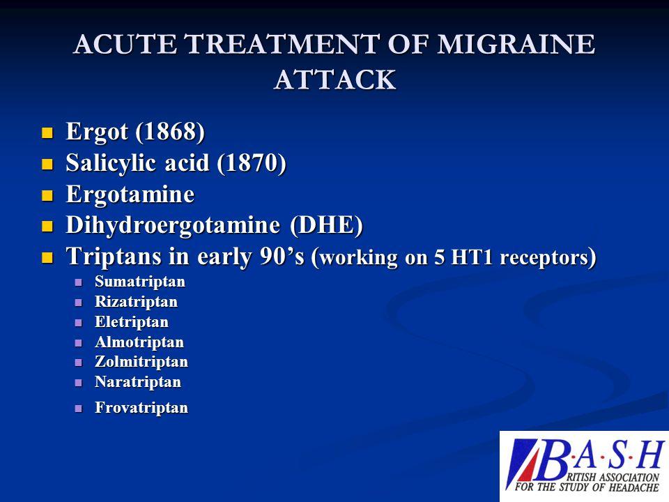 ACUTE TREATMENT OF MIGRAINE ATTACK Ergot (1868) Ergot (1868) Salicylic acid (1870) Salicylic acid (1870) Ergotamine Ergotamine Dihydroergotamine (DHE)