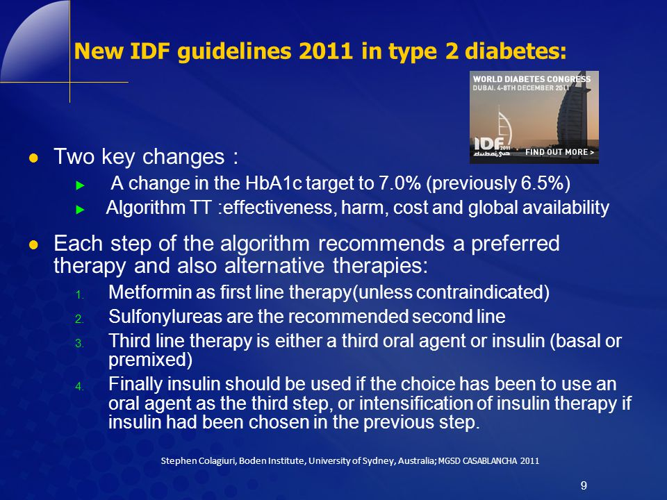 New IDF guidelines 2011 in type 2 diabetes: Two key changes :  A change in the HbA1c target to 7.0% (previously 6.5%)  Algorithm TT :effectiveness,
