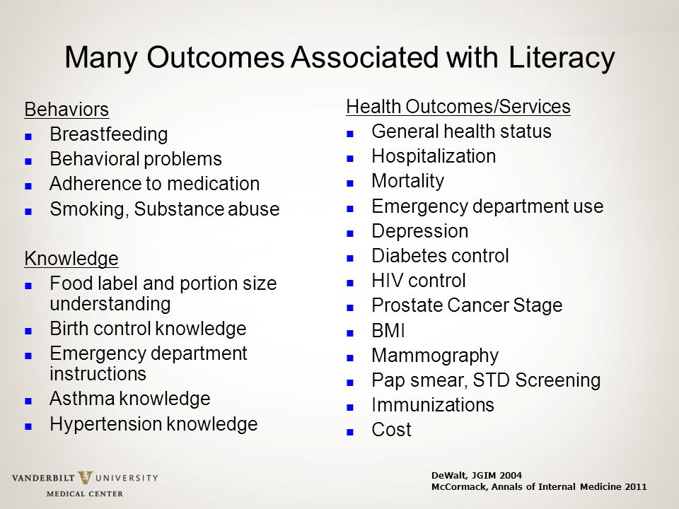 Many Outcomes Associated with Literacy Health Outcomes/Services General health status Hospitalization Mortality Emergency department use Depression Di