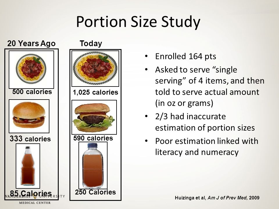 """Portion Size Study Enrolled 164 pts Asked to serve """"single serving"""" of 4 items, and then told to serve actual amount (in oz or grams) 2/3 had inaccura"""