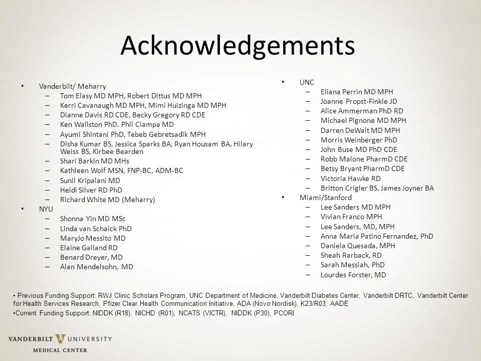 Acknowledgements UNC – Eliana Perrin MD MPH – Joanne Propst-Finkle JD – Alice Ammerman PhD RD – Michael Pignone MD MPH – Darren DeWalt MD MPH – Morris