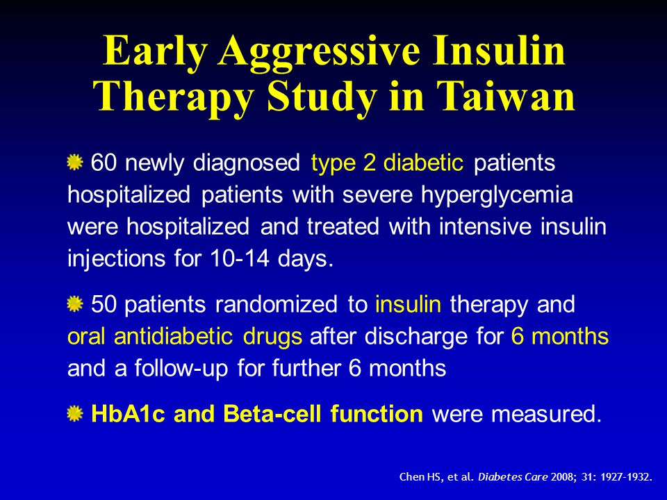 Early Aggressive Insulin Therapy Study in Taiwan 60 newly diagnosed type 2 diabetic patients hospitalized patients with severe hyperglycemia were hosp