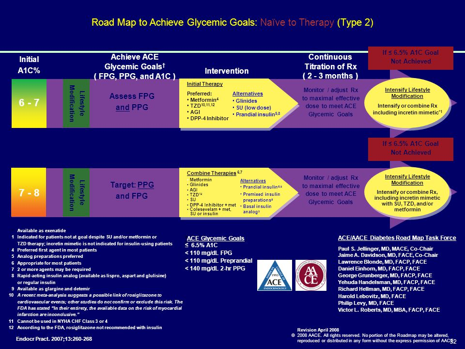 32 Road Map to Achieve Glycemic Goals: Naïve to Therapy (Type 2) Initial A1C% Achieve ACE Glycemic Goals † ( FPG, PPG, and A1C ) Intervention Continuo