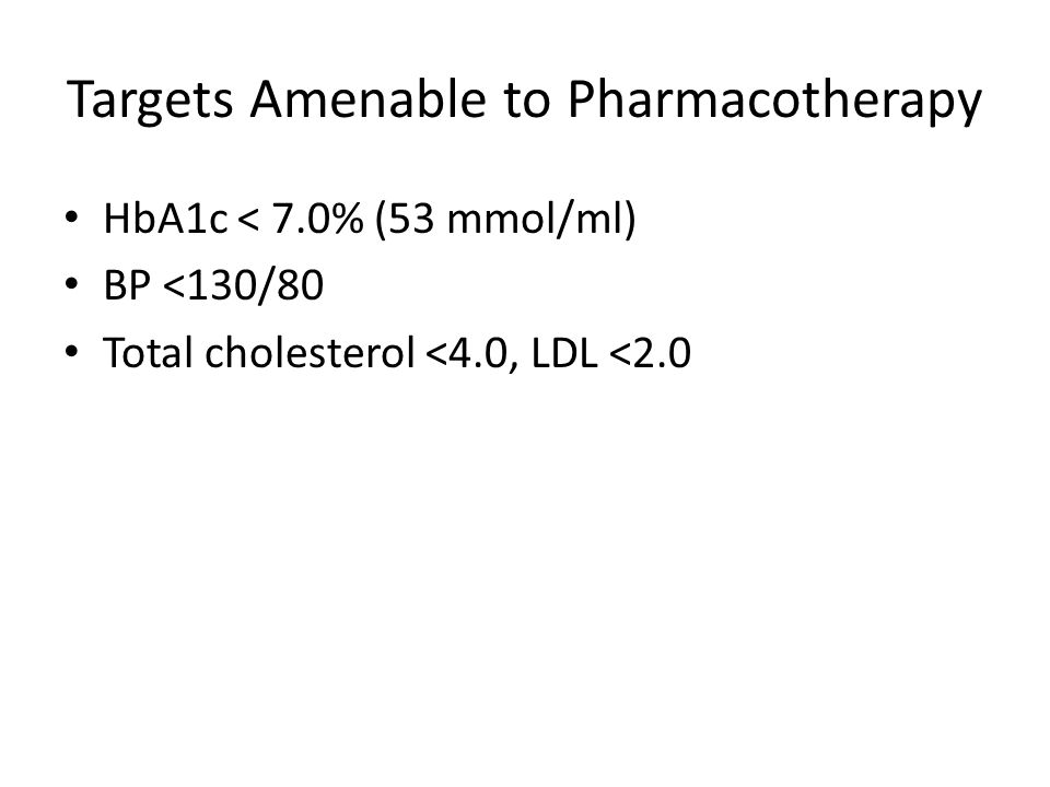 Targets Amenable to Pharmacotherapy HbA1c < 7.0% (53 mmol/ml) BP <130/80 Total cholesterol <4.0, LDL <2.0