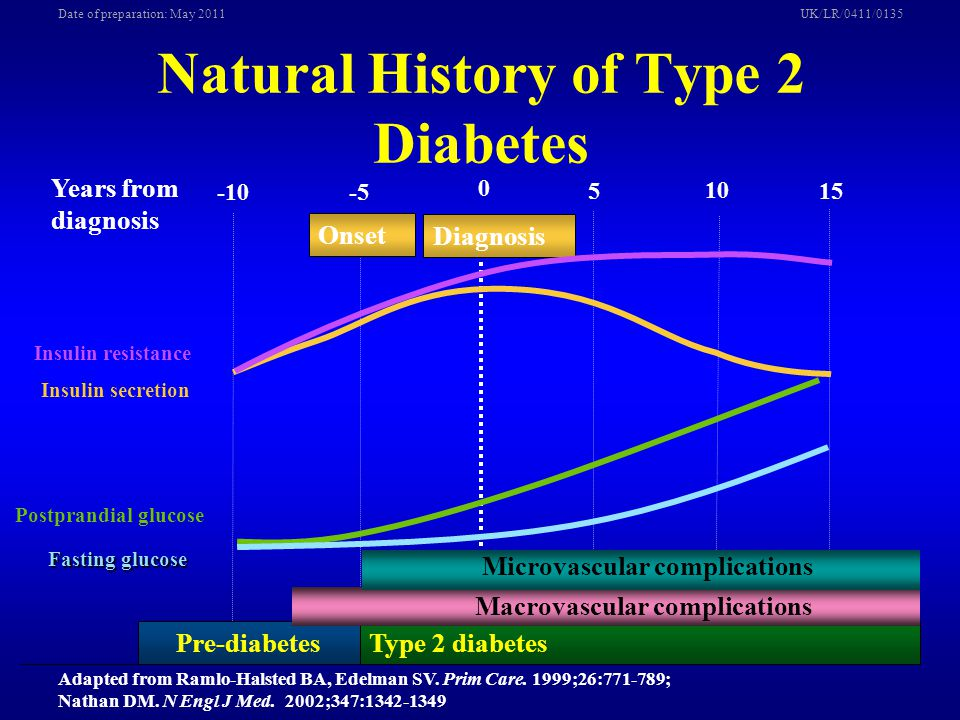 UK/LR/0411/0135Date of preparation: May 2011 Type 2 diabetes Years from diagnosis 0 5 -10-5 10 15 Pre-diabetes Onset Diagnosis Insulin secretion Insul