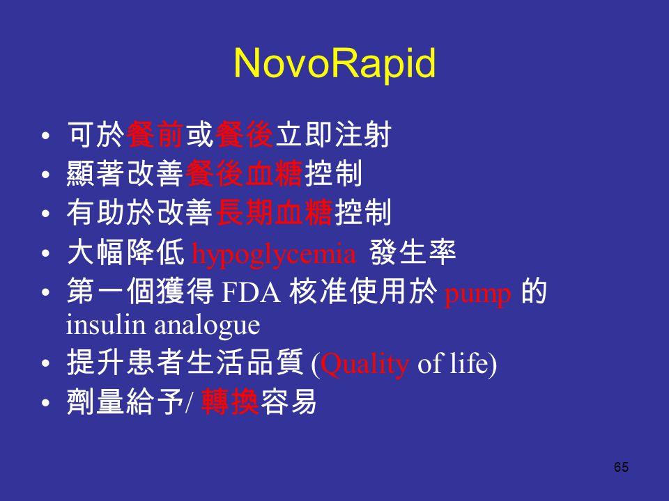 NovoRapid 可於餐前或餐後立即注射 顯著改善餐後血糖控制 有助於改善長期血糖控制 大幅降低 hypoglycemia 發生率 第一個獲得 FDA 核准使用於 pump 的 insulin analogue 提升患者生活品質 (Quality of life) 劑量給予 / 轉換容易 65