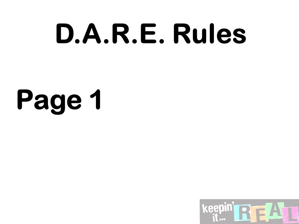 D.A.R.E. Rules Page 1
