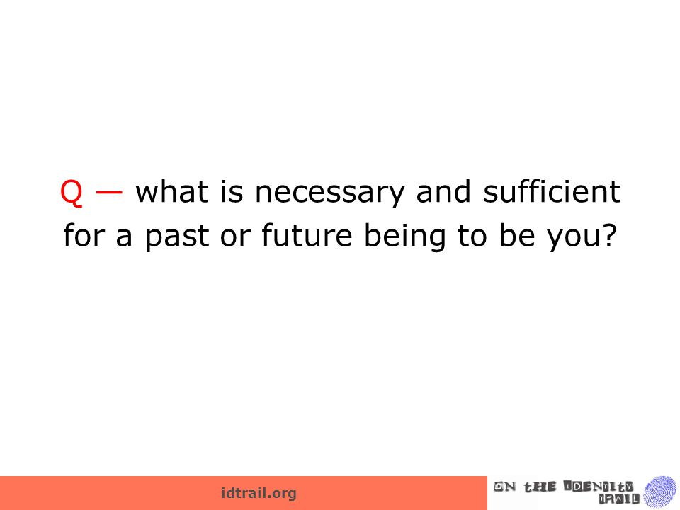 idtrail.org Q — what is necessary and sufficient for a past or future being to be you?
