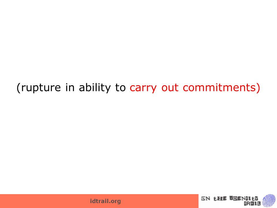 idtrail.org (rupture in ability to carry out commitments)