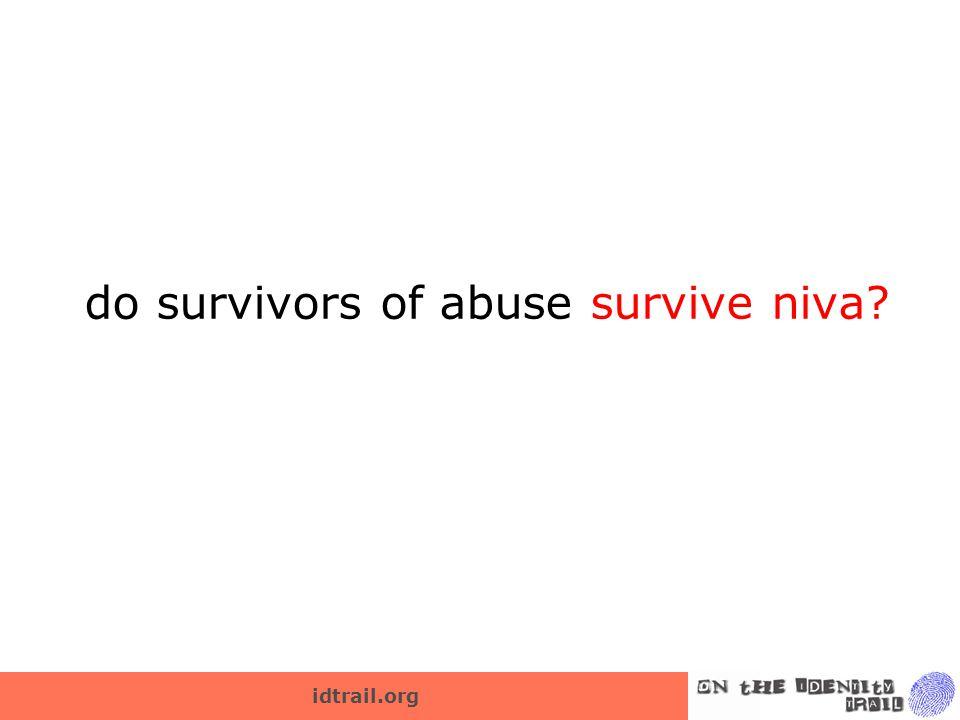 idtrail.org do survivors of abuse survive niva?