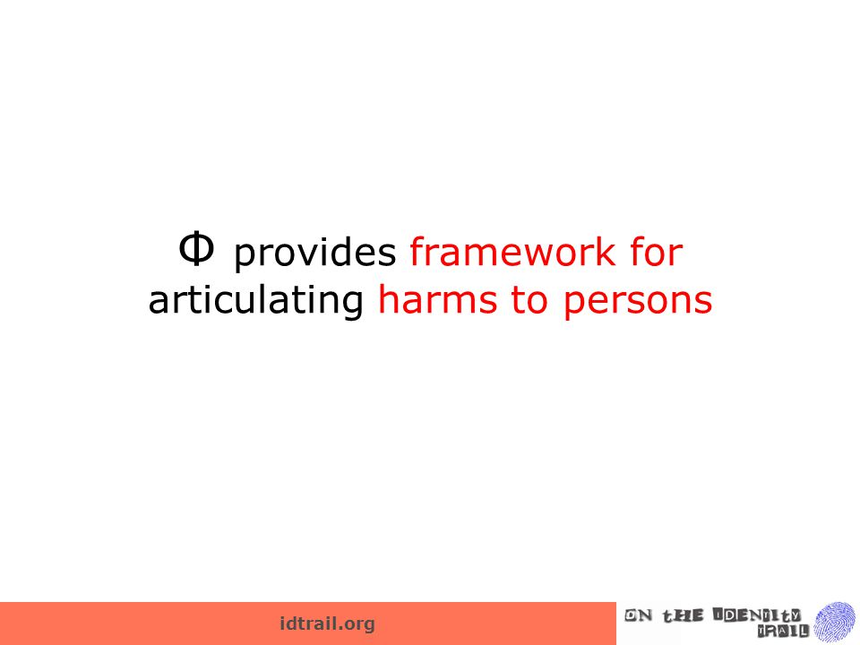 idtrail.org Ф provides framework for articulating harms to persons