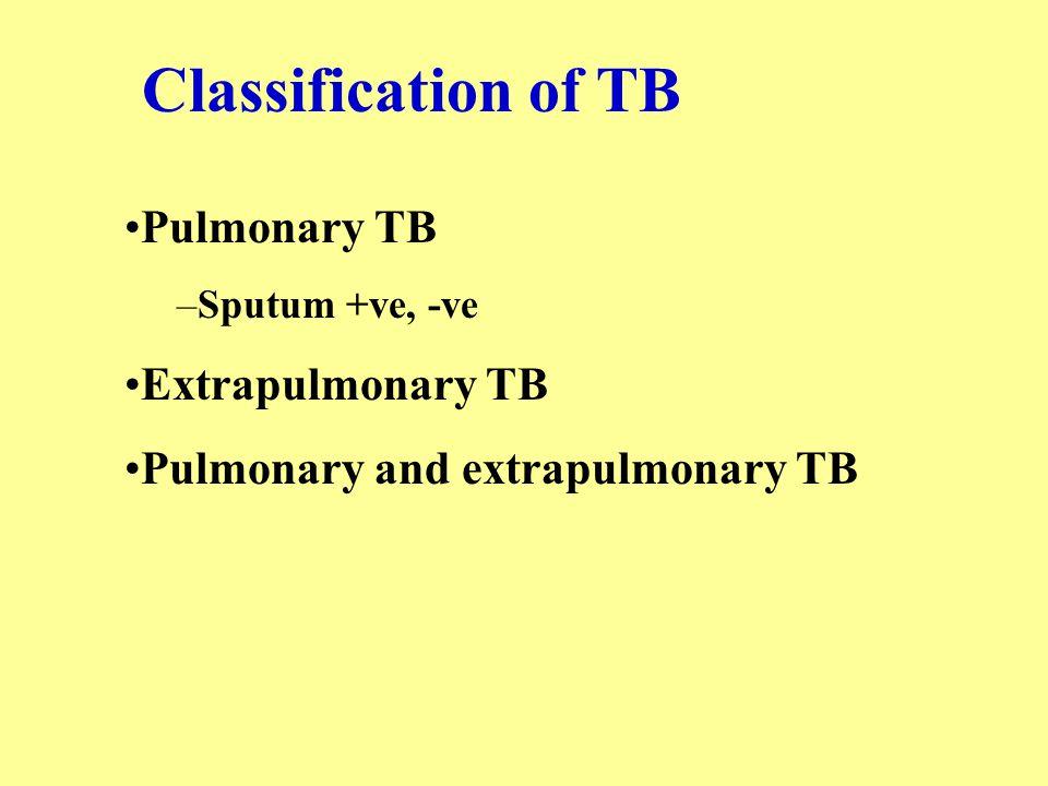 Classification of TB Pulmonary TB –Sputum +ve, -ve Extrapulmonary TB Pulmonary and extrapulmonary TB
