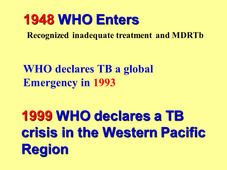 1948 WHO Enters Recognized inadequate treatment and MDRTb WHO declares TB a global Emergency in 1993 1999 WHO declares a TB crisis in the Western Paci