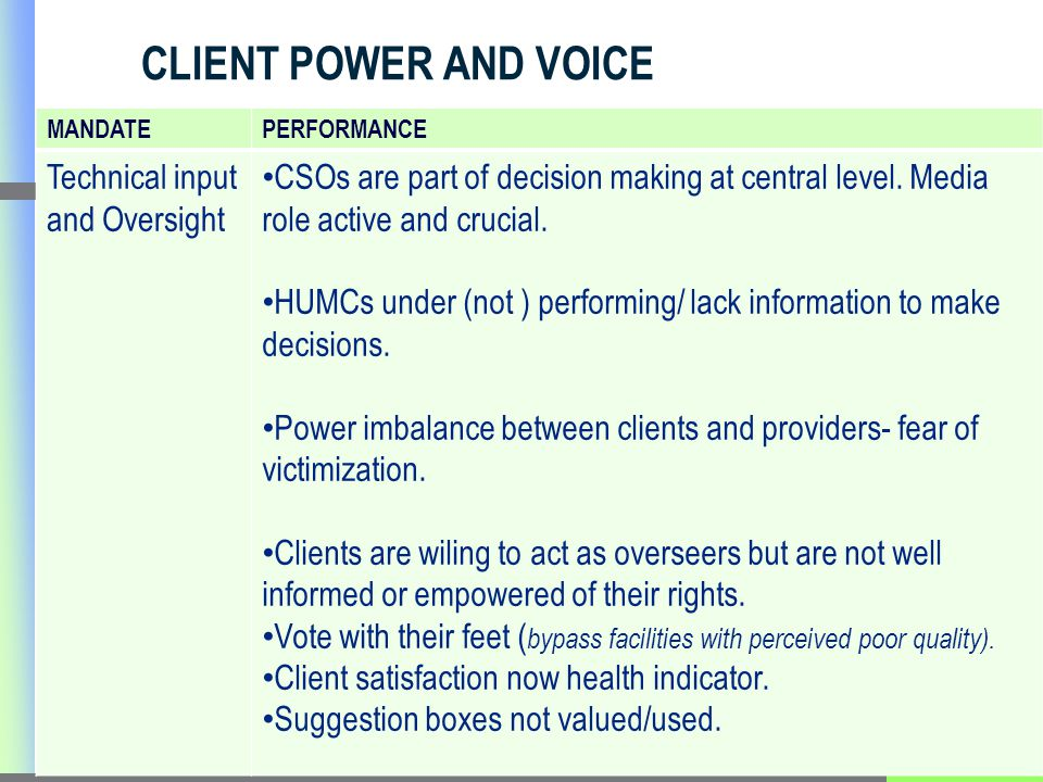 CLIENT POWER AND VOICE MANDATEPERFORMANCE Technical input and Oversight CSOs are part of decision making at central level.