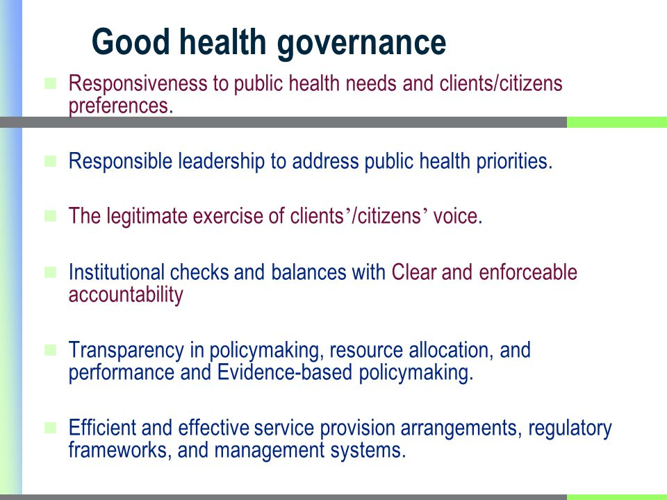 Objective and Methods To assess Uganda's health system governance performance Document Review Key Informant interviews 4 District visits (KIs)