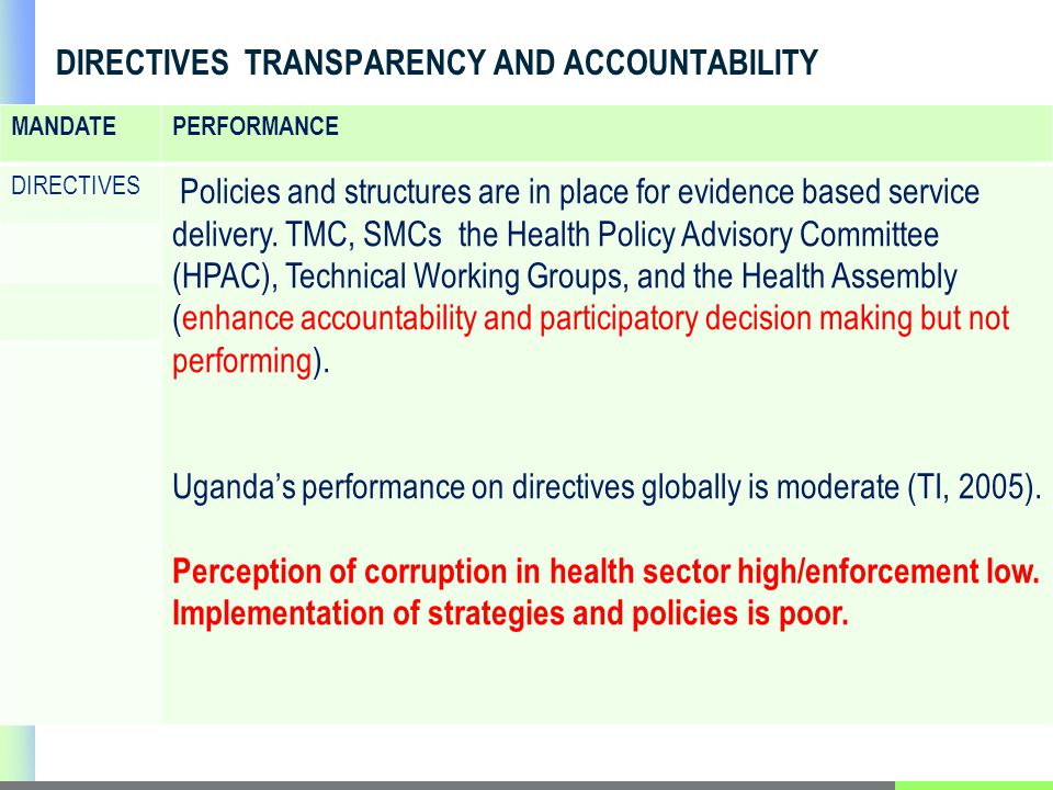 DIRECTIVES TRANSPARENCY AND ACCOUNTABILITY MANDATEPERFORMANCE DIRECTIVES Policies and structures are in place for evidence based service delivery.