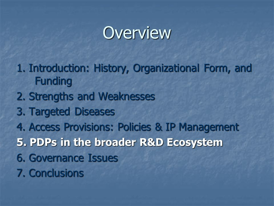 Overview 1. Introduction: History, Organizational Form, and Funding 2.