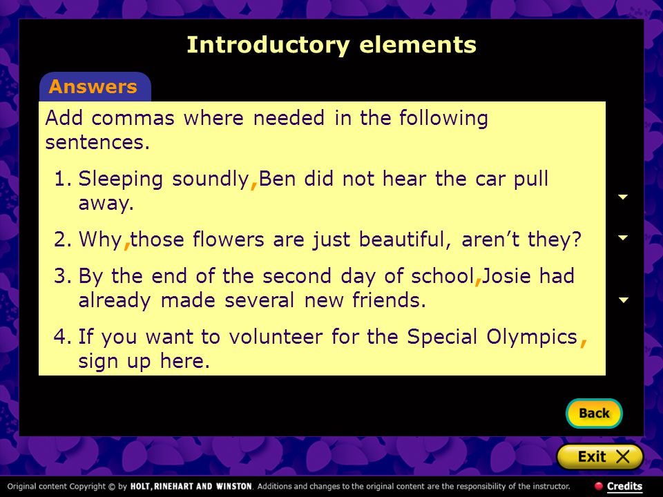 Add commas where needed in the following sentences. 1.Sleeping soundly Ben did not hear the car pull away. 2.Why those flowers are just beautiful, are