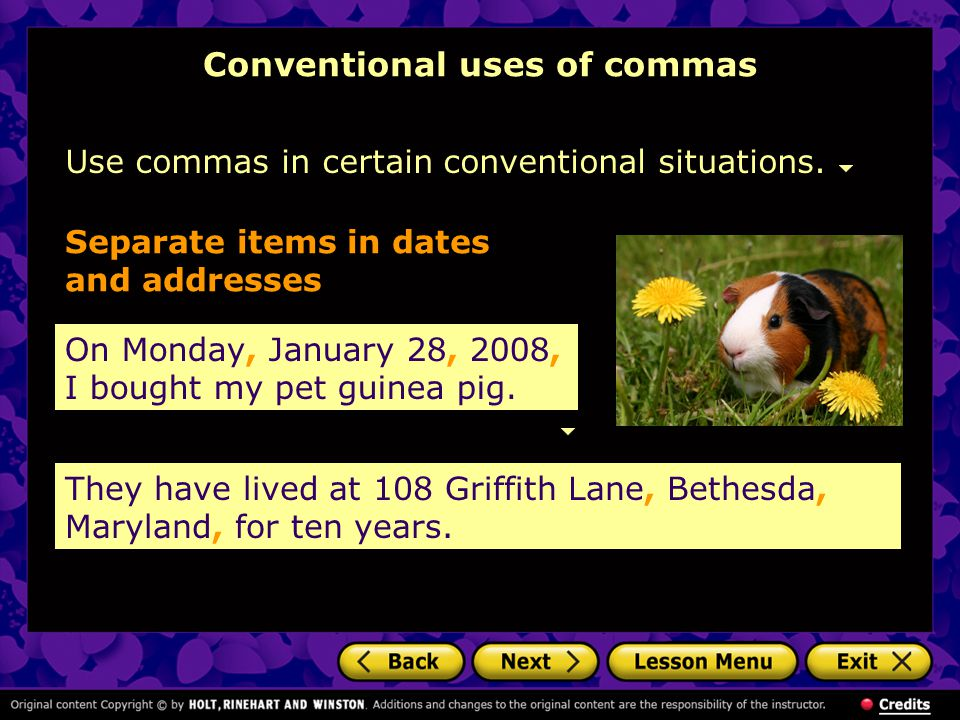 Conventional uses of commas Use commas in certain conventional situations. On Monday, January 28, 2008, I bought my pet guinea pig. Separate items in