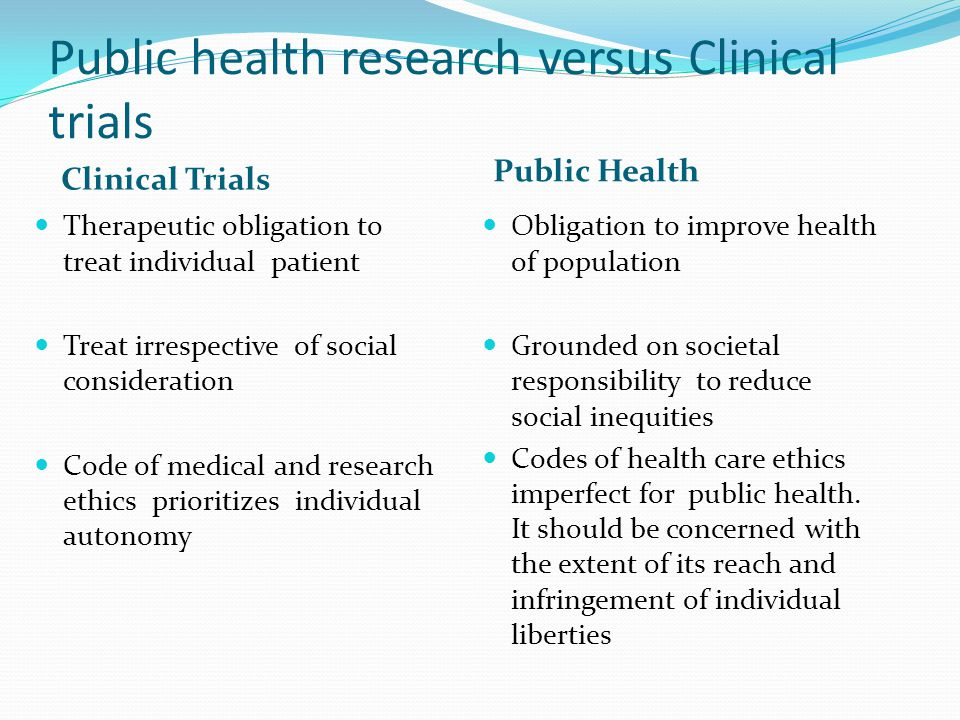 Public health research versus Clinical trials Clinical Trials Public Health Therapeutic obligation to treat individual patient Treat irrespective of social consideration Code of medical and research ethics prioritizes individual autonomy Obligation to improve health of population Grounded on societal responsibility to reduce social inequities Codes of health care ethics imperfect for public health.