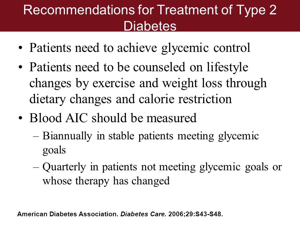 Recommendations for Treatment of Type 2 Diabetes Patients need to achieve glycemic control Patients need to be counseled on lifestyle changes by exerc