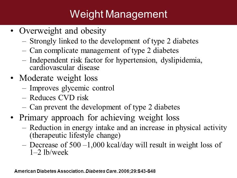 Weight Management Overweight and obesity –Strongly linked to the development of type 2 diabetes –Can complicate management of type 2 diabetes –Indepen