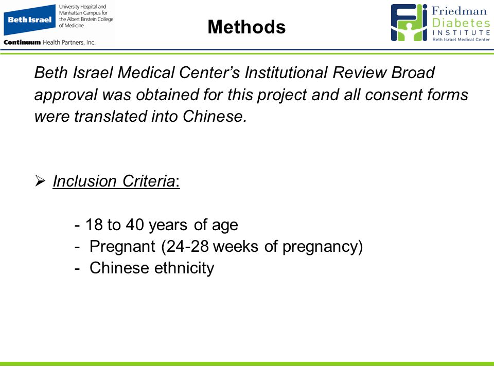 Methods Beth Israel Medical Center's Institutional Review Broad approval was obtained for this project and all consent forms were translated into Chinese.