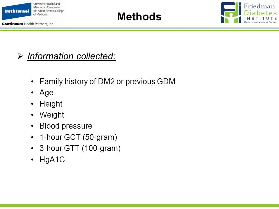 Methods  Information collected: Family history of DM2 or previous GDM Age Height Weight Blood pressure 1-hour GCT (50-gram) 3-hour GTT (100-gram) HgA1C