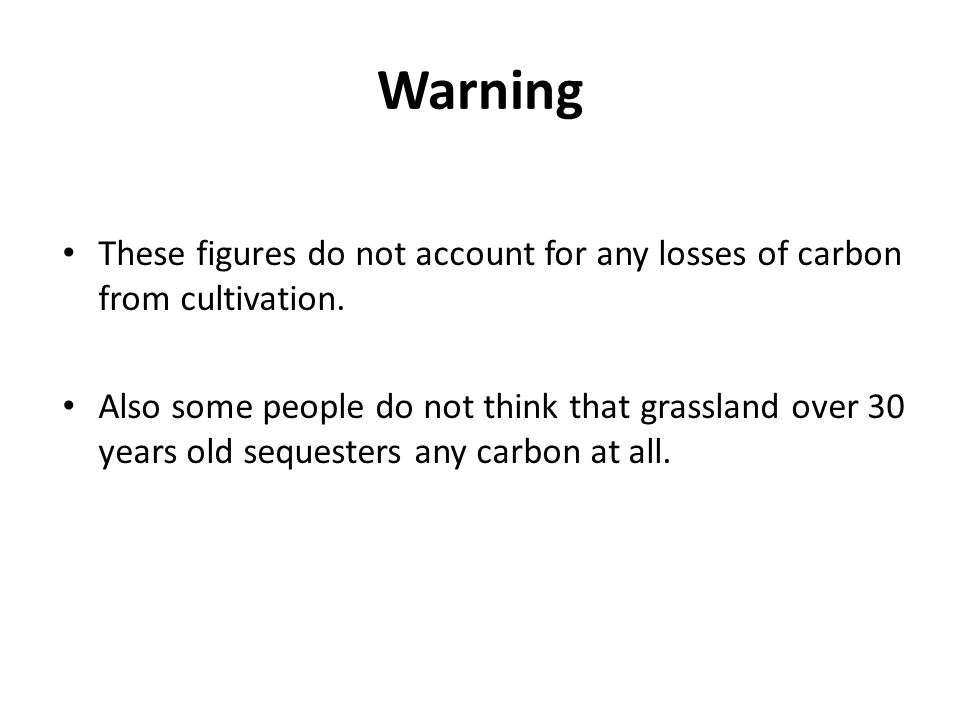 Warning These figures do not account for any losses of carbon from cultivation.