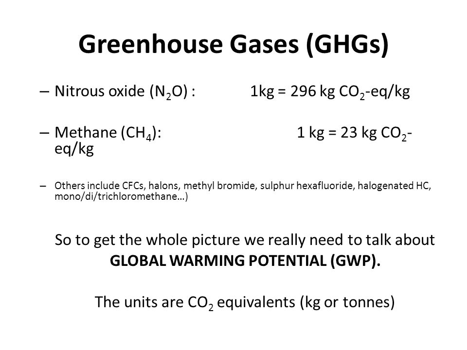 Greenhouse Gases (GHGs) – Nitrous oxide (N 2 O) : 1kg = 296 kg CO 2 -eq/kg – Methane (CH 4 ): 1 kg = 23 kg CO 2 - eq/kg – Others include CFCs, halons,
