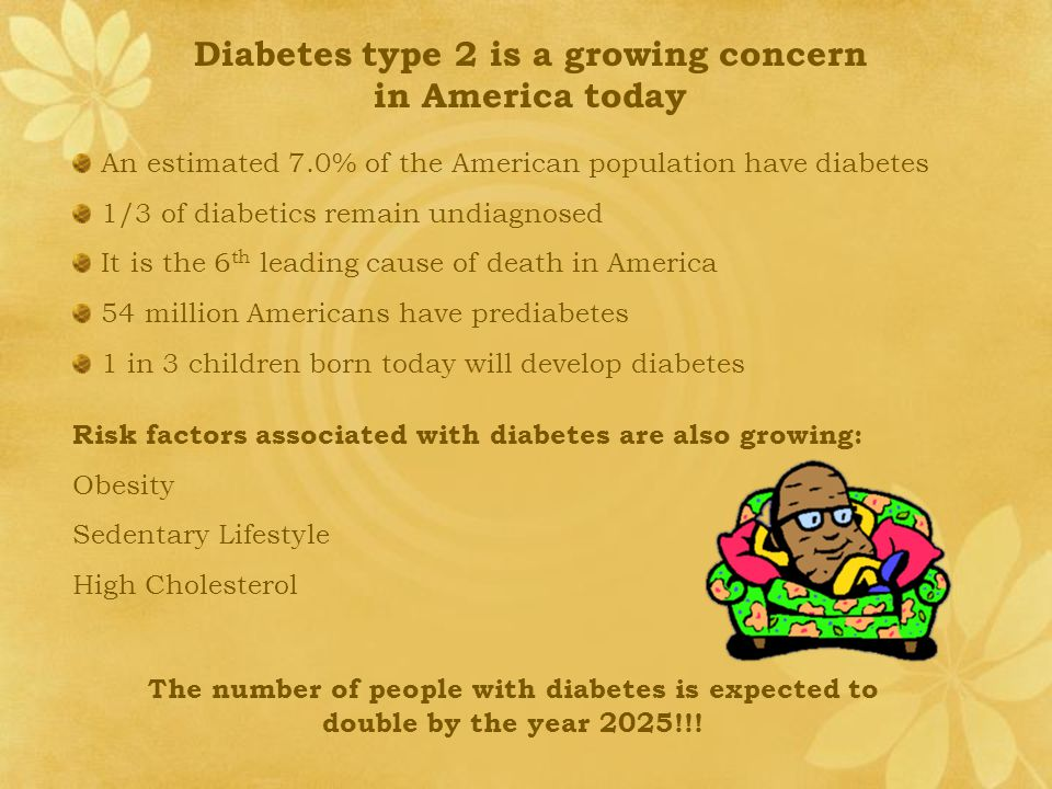 Diabetes type 2 is a growing concern in America today An estimated 7.0% of the American population have diabetes 1/3 of diabetics remain undiagnosed It is the 6 th leading cause of death in America 54 million Americans have prediabetes 1 in 3 children born today will develop diabetes Risk factors associated with diabetes are also growing: Obesity Sedentary Lifestyle High Cholesterol The number of people with diabetes is expected to double by the year 2025!!!