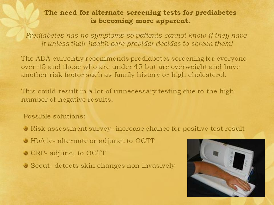 The need for alternate screening tests for prediabetes is becoming more apparent.