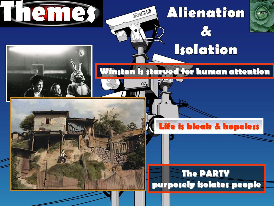 The PARTY purposely isolates people Life is bleak & hopeless Winston is starved for human attention
