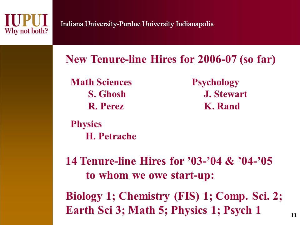 11 Indiana University-Purdue University Indianapolis 11 Indiana University-Purdue University Indianapolis New Tenure-line Hires for 2006-07 (so far) Math Sciences Psychology S.