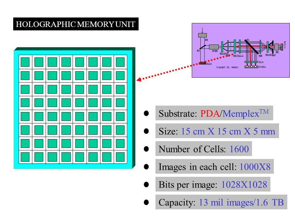 HOLOGRAPHIC MEMORY UNIT TARGET ID: 7968023 SLM CCDA BS HMDX HR HMU LLA HR BE IFBR AP LLA CCDA Substrate: PDA/Memplex TM Size: 15 cm X 15 cm X 5 mm Num