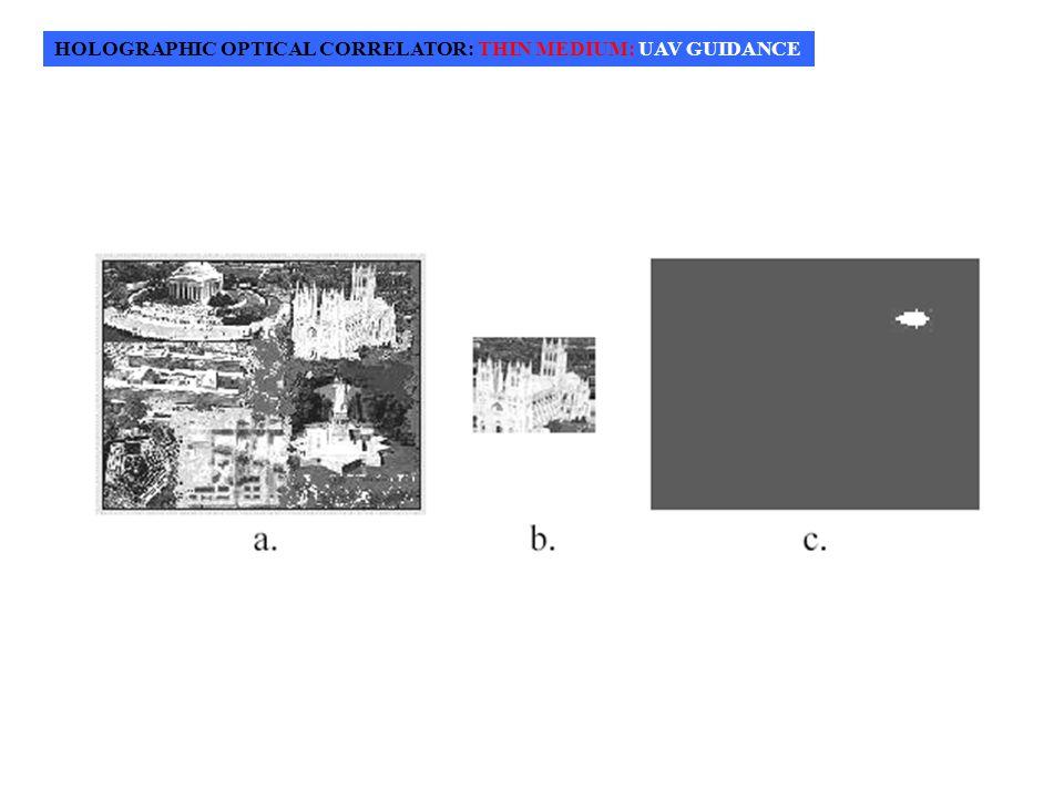 HOLOGRAPHIC OPTICAL CORRELATOR: THIN MEDIUM: UAV GUIDANCE