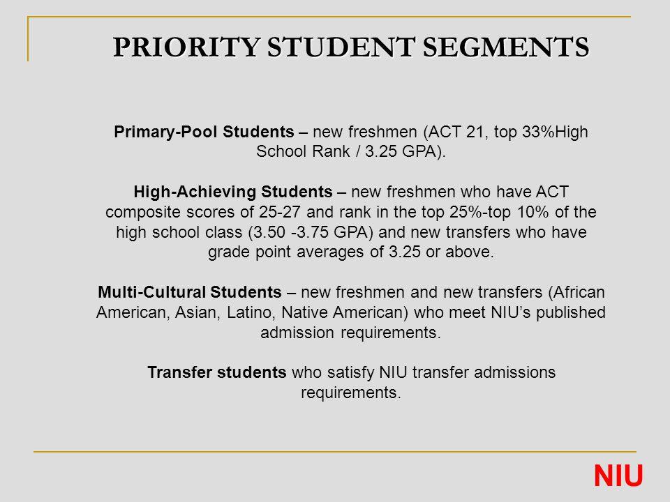 PRIORITY STUDENT SEGMENTS Primary-Pool Students – new freshmen (ACT 21, top 33%High School Rank / 3.25 GPA).