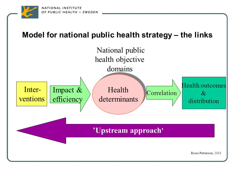 Model for national public health strategy – the links Inter- ventions Impact & efficiency Health determinants Health determinants National public heal