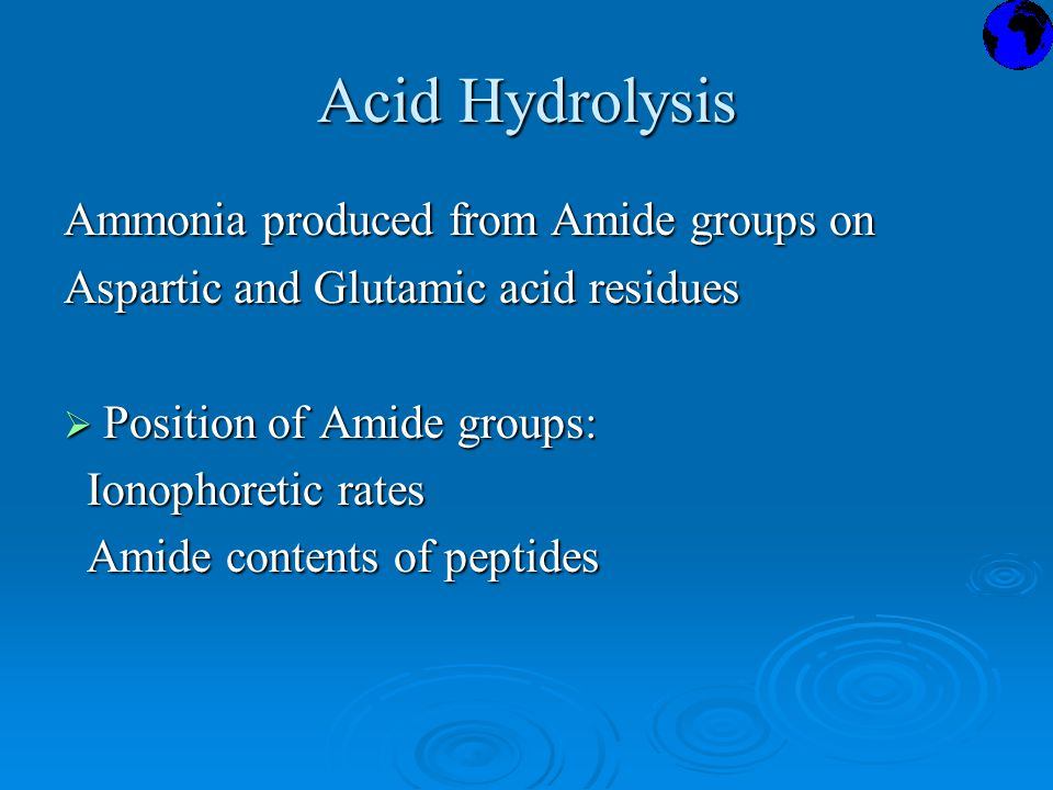Acid Hydrolysis Ammonia produced from Amide groups on Aspartic and Glutamic acid residues  Position of Amide groups: Ionophoretic rates Ionophoretic rates Amide contents of peptides Amide contents of peptides