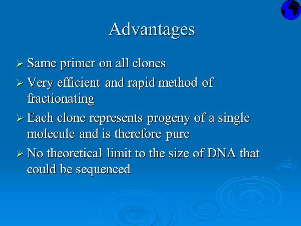 Advantages  Same primer on all clones  Very efficient and rapid method of fractionating  Each clone represents progeny of a single molecule and is therefore pure  No theoretical limit to the size of DNA that could be sequenced