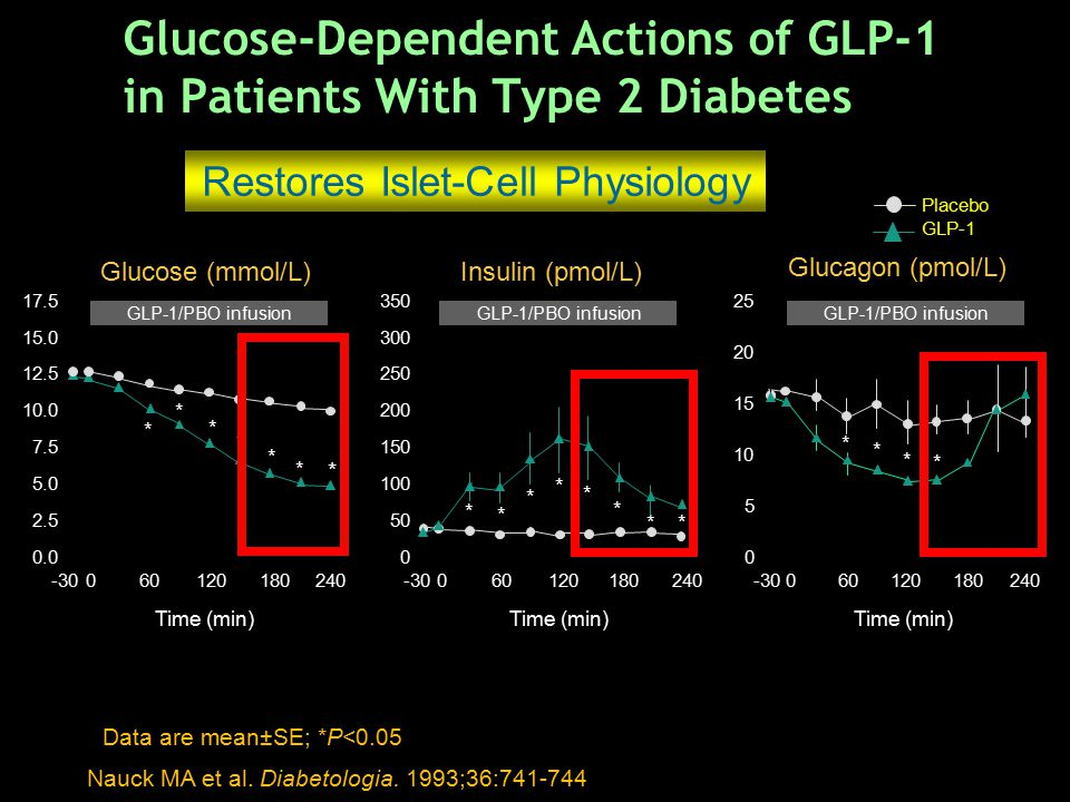 Nauck MA et al. Diabetologia. 1993;36:741-744 Data are mean±SE; *P<0.05 Placebo GLP-1 Glucose-Dependent Actions of GLP-1 in Patients With Type 2 Diabe