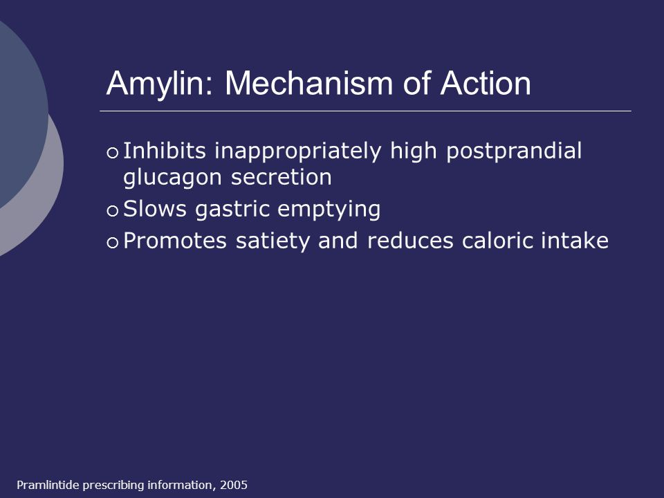 Amylin: Mechanism of Action Pramlintide prescribing information, 2005  Inhibits inappropriately high postprandial glucagon secretion  Slows gastric