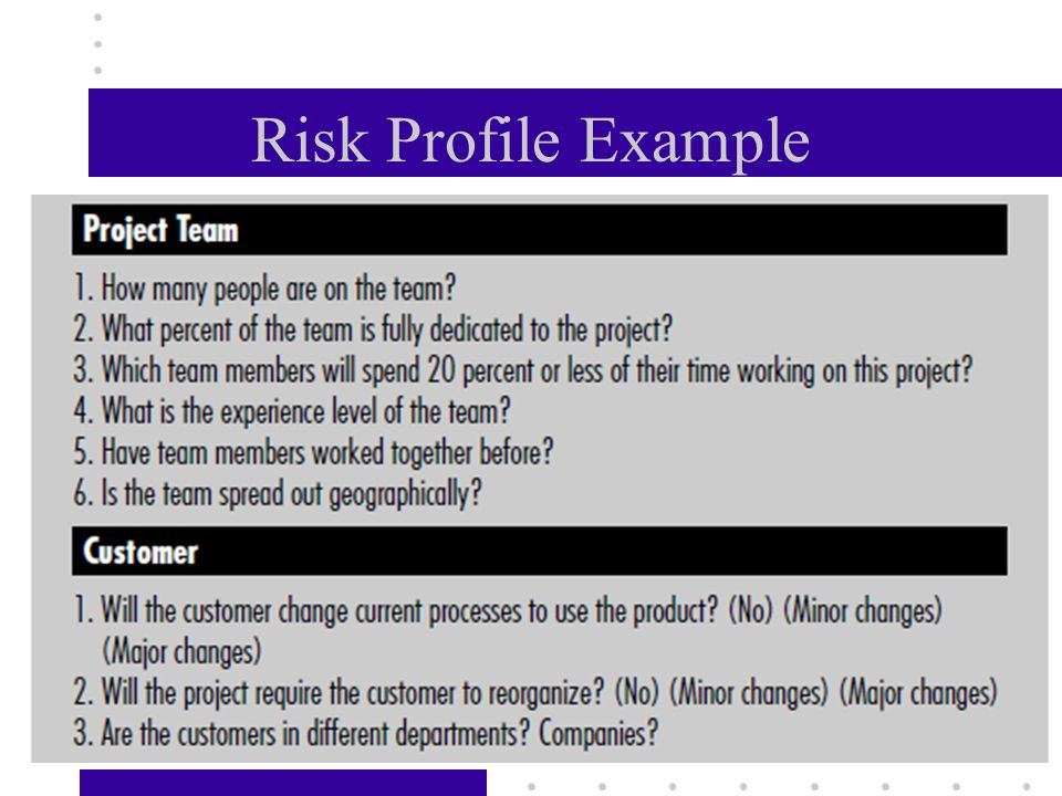 "Creating Risk Profile - Predict the magnitude of each risk. Even simple, subjective indicators of risk such as ""high–medium–low"" contribute to a clear"