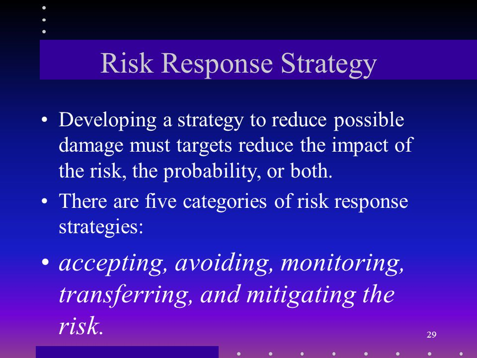 Risk Probability Assigning probabilities to a risk requires that a project manager use experts advice, experience and intuition as well as knowledge.
