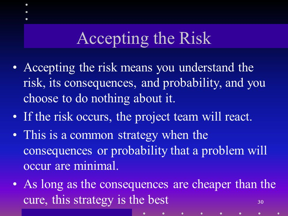 Risk Response Strategy Developing a strategy to reduce possible damage must targets reduce the impact of the risk, the probability, or both.