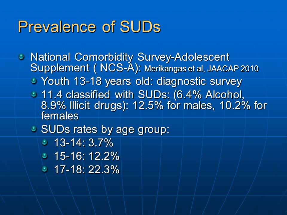 Prevalence of SUDs National Comorbidity Survey-Adolescent Supplement ( NCS-A): Merikangas et al, JAACAP 2010 Youth 13-18 years old: diagnostic survey 11.4 classified with SUDs: (6.4% Alcohol, 8.9% Illicit drugs): 12.5% for males, 10.2% for females SUDs rates by age group: 13-14: 3.7% 15-16: 12.2% 17-18: 22.3%