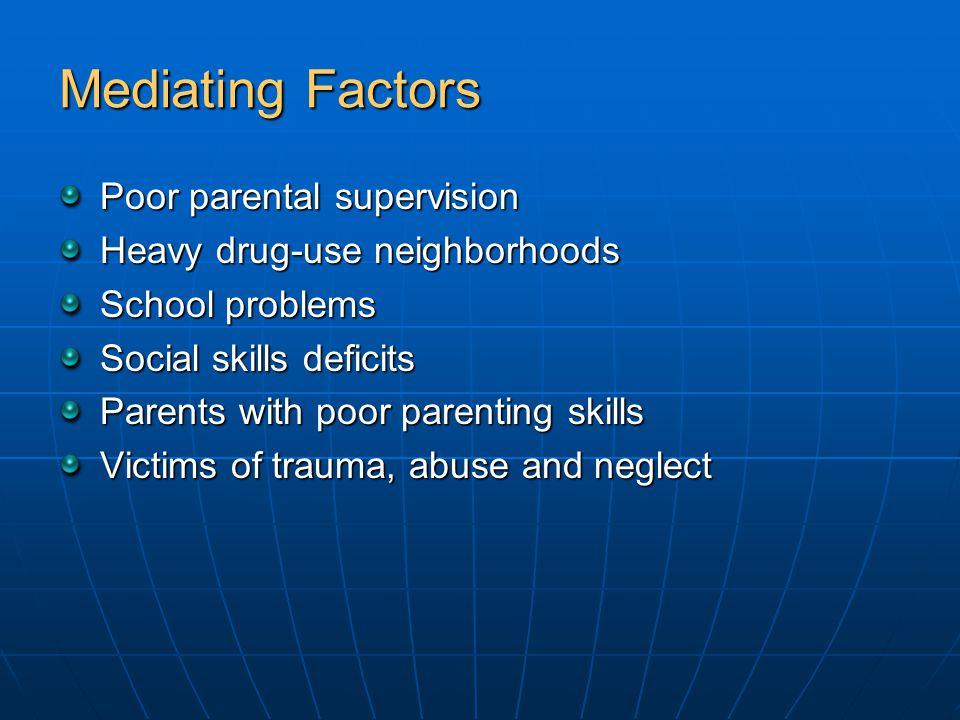 Mediating Factors Poor parental supervision Heavy drug-use neighborhoods School problems Social skills deficits Parents with poor parenting skills Vic