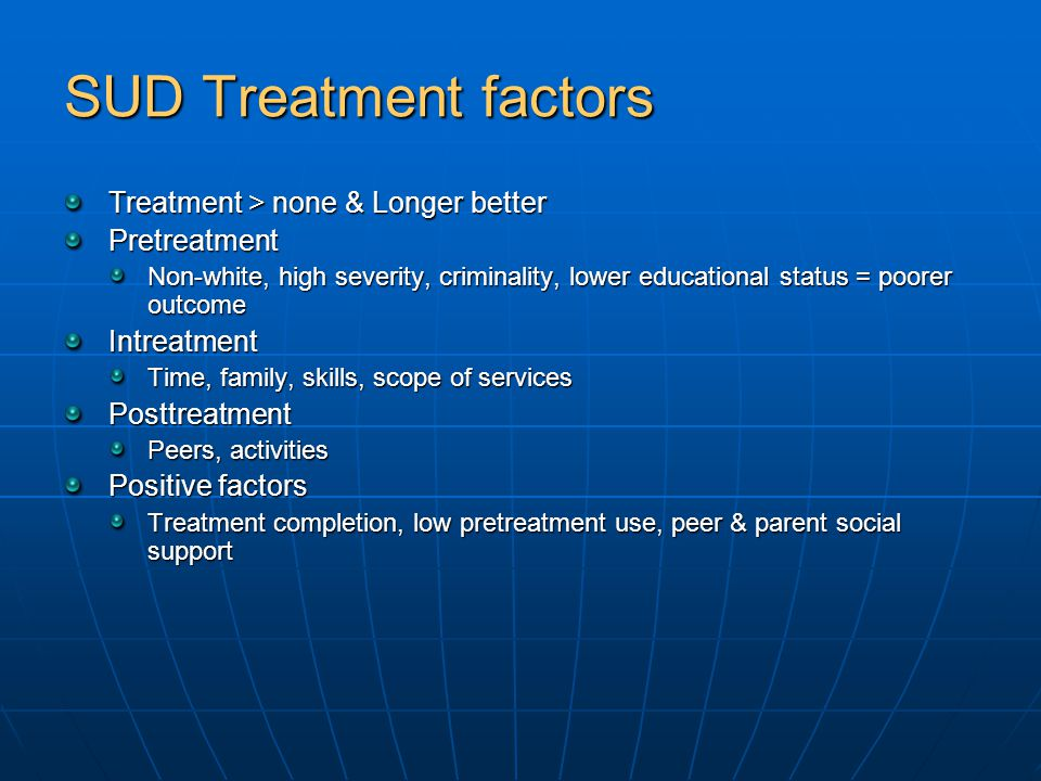 SUD Treatment factors Treatment > none & Longer better Pretreatment Non-white, high severity, criminality, lower educational status = poorer outcome Intreatment Time, family, skills, scope of services Posttreatment Peers, activities Positive factors Treatment completion, low pretreatment use, peer & parent social support