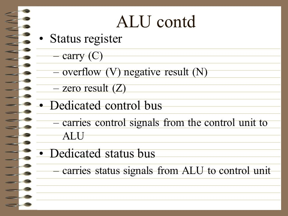 ALU Arithmetic, logical and shift operations All three could be in one functional unit or two or more units.