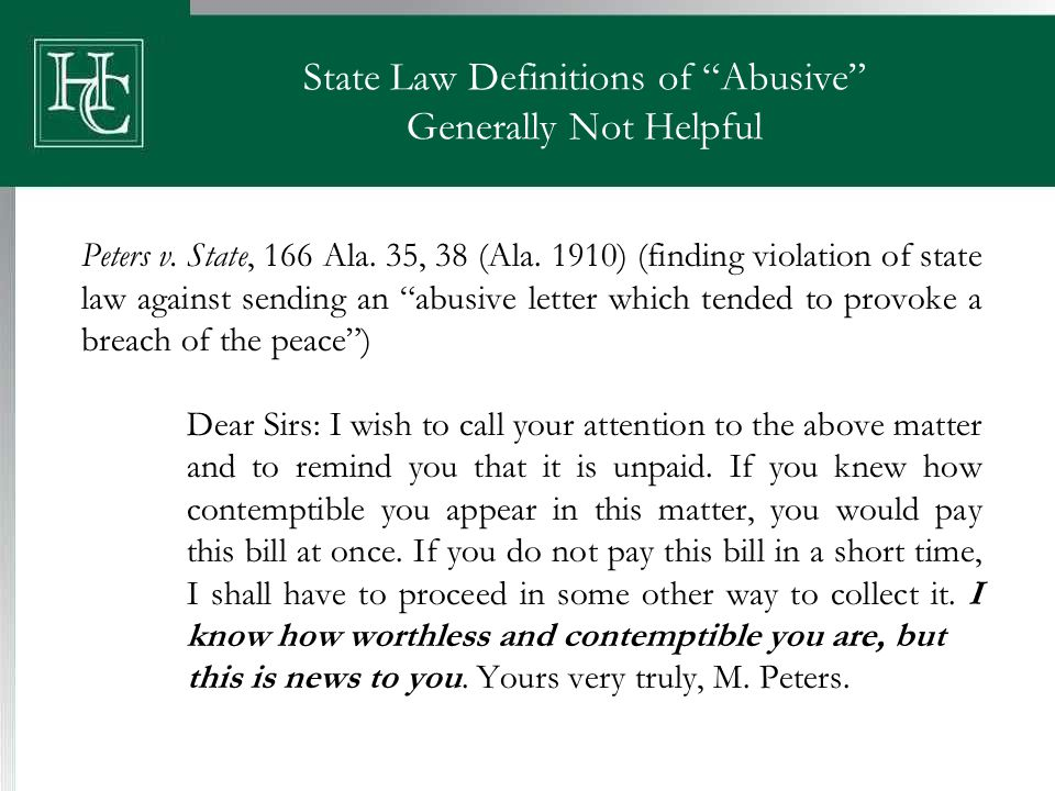 State Law Definitions of Abusive Generally Not Helpful Peters v.